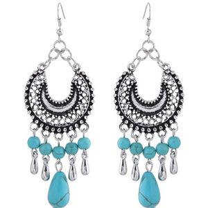 Turquoise Circle Hoop Earrings Silver